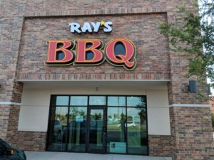 Ray's BBQ building with signage